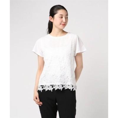 tシャツ Tシャツ エムエフエディトリアルレディース/m.f.editorial:Women パネルレース クルーネック半袖Tシャツ