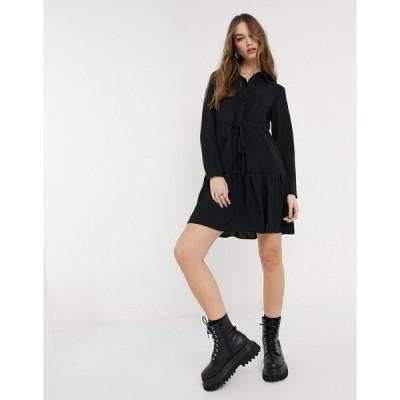 ニュールック ミディドレス レディース New Look tie waist tiered shirt dress in black エイソス ASOS ブラック 黒