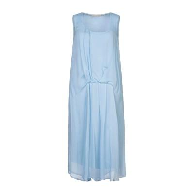 120% 7分丈ワンピース・ドレス スカイブルー 40 リネン 100% 7分丈ワンピース・ドレス