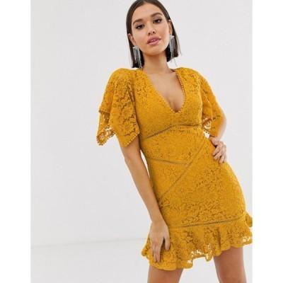 ラブトライアングル レディース ワンピース トップス Love Triangle flutter sleeve mini lace dress with laddering inserts in burnt yellow