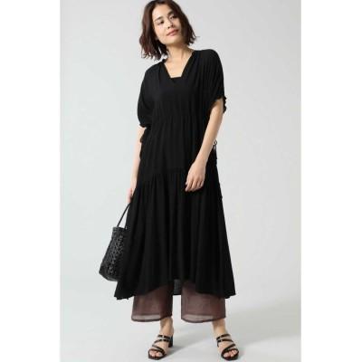 【ローズバッド】 シャーリングドレス レディース ブラック - ROSE BUD