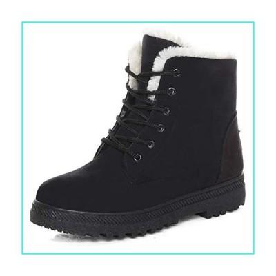【新品】Susanny Suede Flat Platform Sneaker Shoes Plus Velvet Winter Women's Lace Up Black Cotton Snow Boots 4 B (M) US(並行輸入