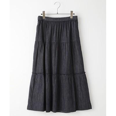 TABASA/タバサ コットンガーゼ切り替えスカート インディゴ F