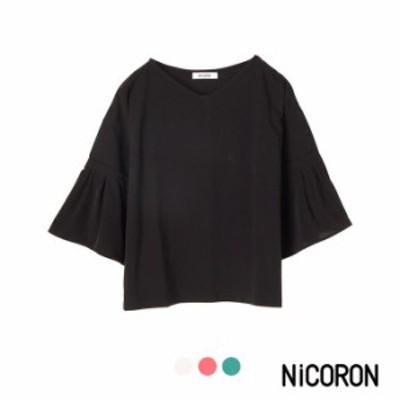 カットソー レディース 半袖tシャツ 半袖 7分袖 袖フレアトップス 異素材 ブランド NiCORON ニコロン tシャツ セール 送料無料