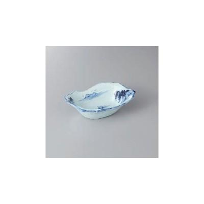 和食器 鉢 手描き山水手作り風舟型鉢食器 向付 皿 陶器