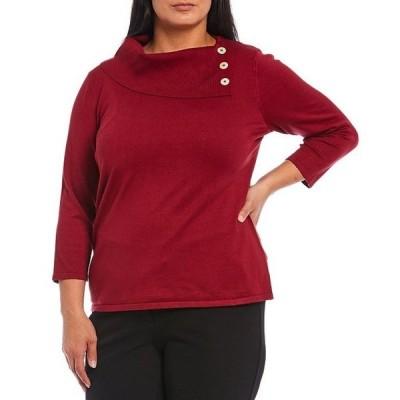 インベストメンツ レディース パーカー・スウェット アウター Plus Size 3/4 Sleeve Buttoned Foldover Collar Sweater