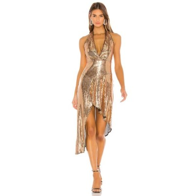 ラヴァーズフレンズ Lovers + Friends レディース ワンピース ミドル丈 ワンピース・ドレス Duchess Sequin Midi Gold