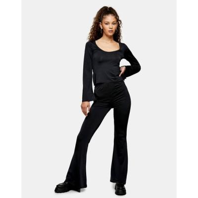 トップショップ Topshop レディース ボトムス・パンツ slinky flared trousers in black ブラック