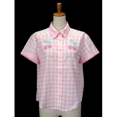 【中古】未使用品 キャンディストリッパー Candy Stripper ボーリングシャツ チェック チェリー 刺繍 半袖 1 ピンク レディース 【ベクトル 古着】