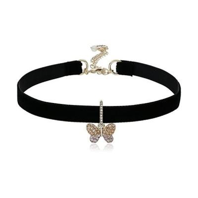 Betsey Johnson Pave Butterfly Charm Black Choker Necklace