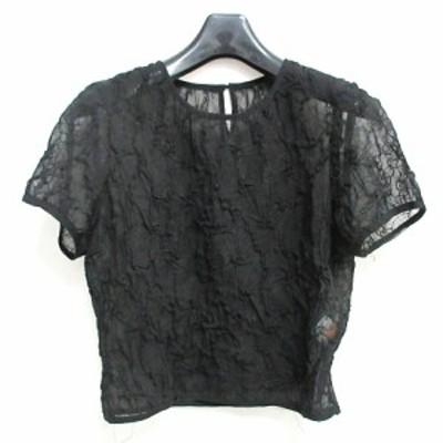 【中古】ミスクロエ miss chloe シャツ ブラウス 半袖 刺繍 透け感 ブラック 黒 40 0414 ECR3 レディース