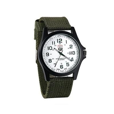 JewelryWeメンズArmy日付スポ-ツ腕時計アナログクォ-ツWatches withグリ-ンナイロンバンド並行輸入品