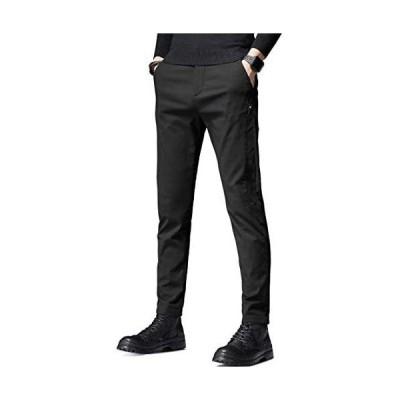 KTMOUW チノパン メンズ ズボン ロングパンツ スキニーパンツ ストレートレッグパンツ 細身ストレッチ 美脚 ゆったり (ブラック 31)