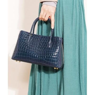 三京商会 / スモールクロコダイルレザーハンドバッグセンター取りシャイニング加工 WOMEN バッグ > ハンドバッグ