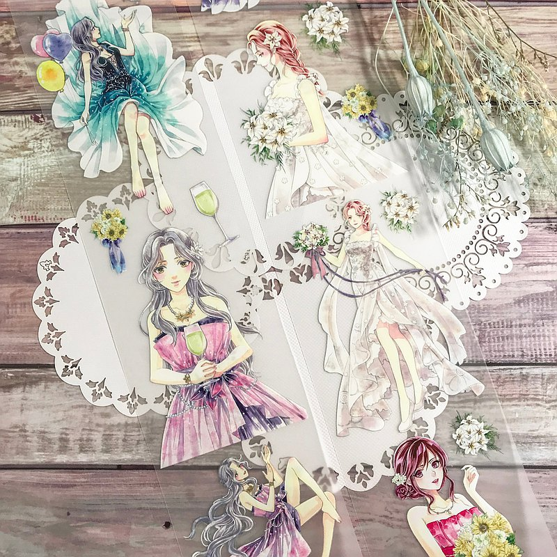 最閃耀的妳Shining Ladies-1-婚紗淑女PET霧透/和紙膠帶(含離型紙