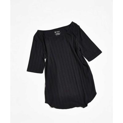 AntiSoaked リブスクエアネック5分袖Tシャツ ブラック
