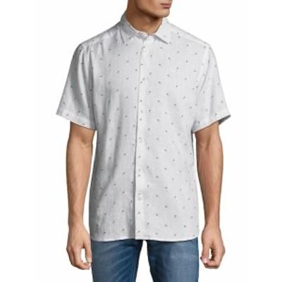 サックスフィフスアベニュー メンズ カジュアル ボタンダウンシャツ Graphic Linen Button-Down Shirt