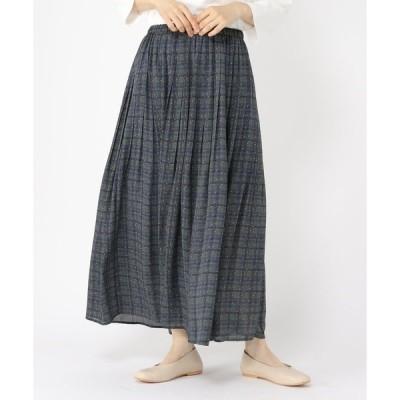 スカート 柄プリーツイージースカート