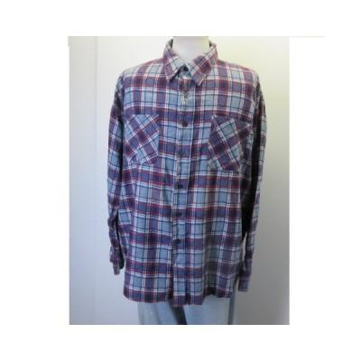 80s ネルシャツ XL 青 WILDERNESS 100%COTTON  アメカジ古着 sy1266