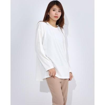 ラナン Ranan 快適な服〈37.5〉サイドスリトカットソ (ホワイト)