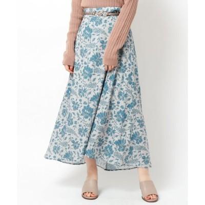 スカート 単色エスニックフラワースカート