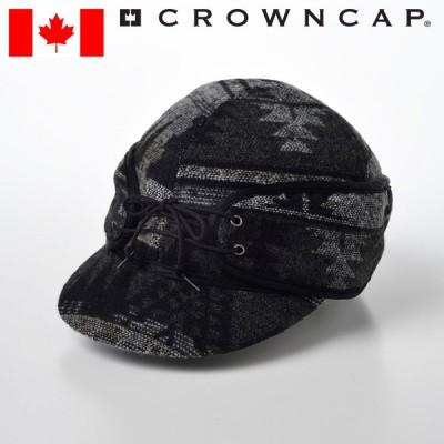帽子 キャップ メンズ 大きいサイズ 秋 冬 紳士帽 防寒帽 耳当て付き CROWNCAP カジュアル レールロードキャップ