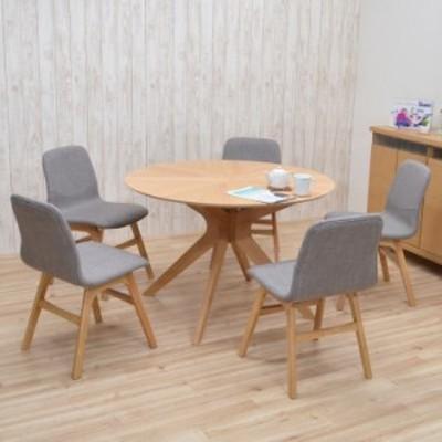 ダイニングテーブルセット 丸テーブル 5人 幅110cm 6点 クロス脚 sbkt110-6-pani339ok ナチュラルオーク色 LGE色 アウトレット 28s-6k so