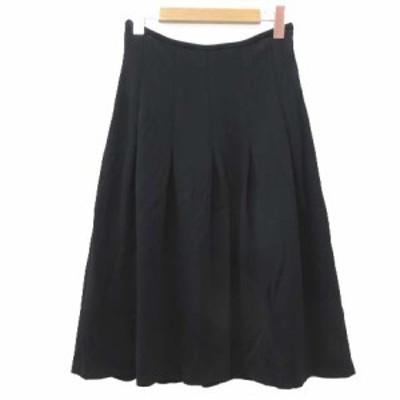【中古】マッキントッシュ LONDON 美品 スカート フレア タック ミラノリブ 三陽商会 38 Mサイズ 黒 レディース