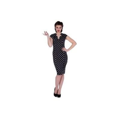 ドレス・ワンピース ヴードゥーヴィクセン レディース Voodoo Vixen Farrah - Polka Dot Pencil ドレス ブラック ビンテージ Rockabilly