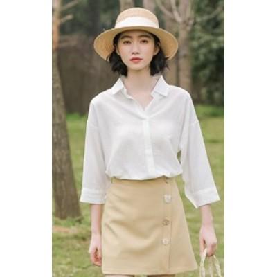 ブラウス シャツ トップス 七分袖  ゆったり 大人可愛い カジュアル おしゃれ きれいめ フェミニン 春夏 ホワイト