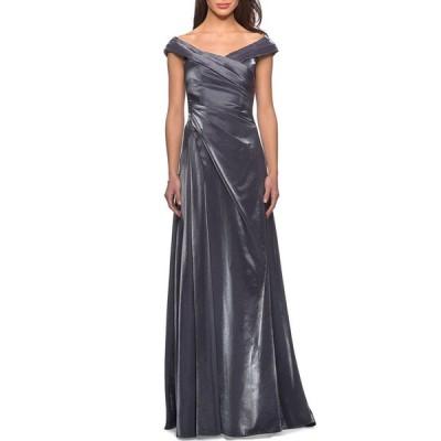 ラフェム レディース ワンピース トップス V-Neck Metallic Satin Ruched Gown