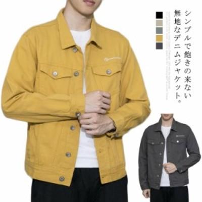 Gジャン メンズ ジージャン ジャケット ブルゾン 無地 アウター スリム シンプル デニムジャケット 大きいサイズ カジュアル