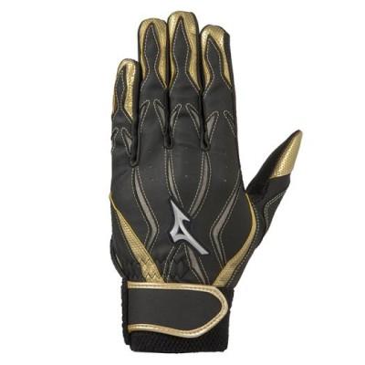 ミズノ MZcomp【両手用】[ジュニア] 09ブラック×グレー×ゴールド JL 野球 手袋 バッティング手袋 その他 1EJEY190