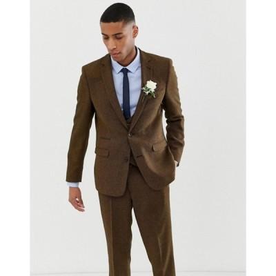エイソス メンズ ジャケット・ブルゾン アウター ASOS DESIGN wedding slim suit jacket in tan wool mix twill