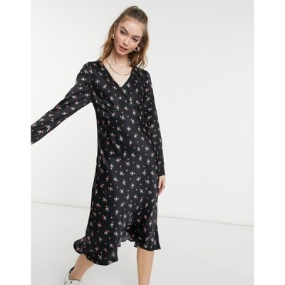 ゴースト レディース ワンピース トップス Ghost Kacey satin dress in black floral print