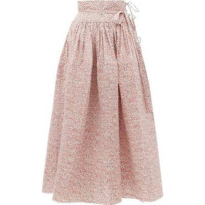 ホラーヴァキュイ Horror Vacui レディース ひざ丈スカート スカート Annabella pintucked floral-print cotton skirt Red and white