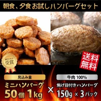 【送料無料】朝食、夕食お試し ハンバーグセット(ミニハンバーグ50個 1kg×牛肉100% 焦げ目付きハンバーグ150g×3パック)レンジ調理OK