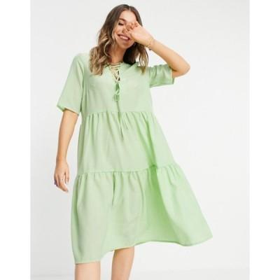 ローラ メイ レディース ワンピース トップス Lola May lace up front tiered midi smock dress in wasabi green