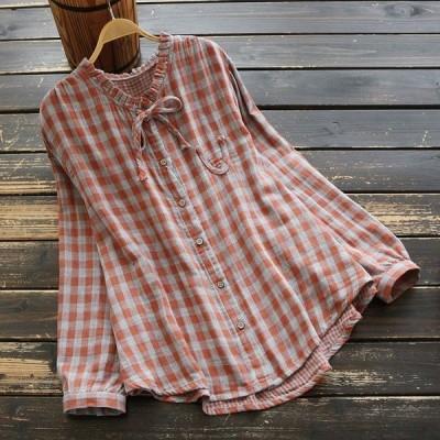 シャツ ブラウス レディース きれいめ 40代 春 大きいサイズ チェック柄 丸首 長袖 トップス j82416
