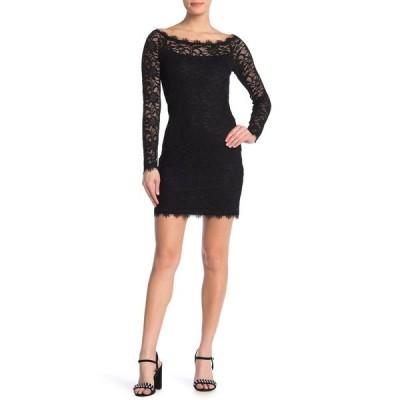 ジャンプ レディース ワンピース トップス Long Sleeve Lace Bodycon Dress BLK