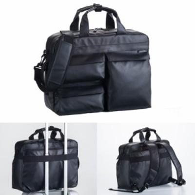 ビジネスバッグ 3way メンズ  ブリーフケース 仕事 出張 通勤 B4ファイルサイズ ハミルトン ダブルPUシリーズ 3way ブラック 26609