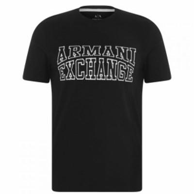 アルマーニ Armani Exchange メンズ Tシャツ ロゴTシャツ トップス College Logo T Shirt Black