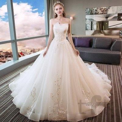 ウェディングドレス ウェディングドレス白 パーティードレス レース ビスチェタイプ 花嫁ロングドレス 結婚式  露背 二次会 お呼ばれ 挙式 姫系