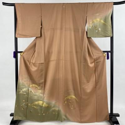 訪問着 秀品 一つ紋 山 霞 金銀彩 刺繍 ピンクベージュ 袷 身丈167cm 裄丈66cm M 正絹 中古