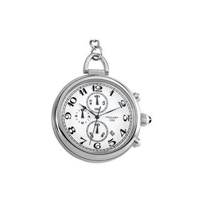 ソリッドステンレススチールホワイトダイヤルポケット時計by Charles Hubert Paris腕時計 フリーギフトボッ