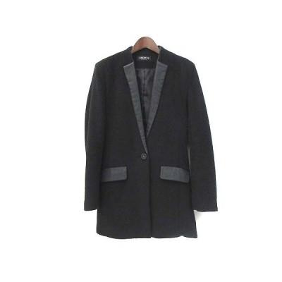 【中古】グローゼ GROWZE コート M 黒 ブラック ウール混 切替 無地 レディース 【ベクトル 古着】