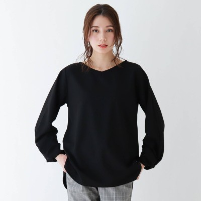 シューラルー SHOO-LA-RUE 袖ねじりVネックプルオーバー (ブラック)