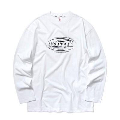 tシャツ Tシャツ 『mahagrid/マハグリッド』OVAL LOGO LS TEE/韓国ブランド オーバルロゴ ロングスリーブTシャツ/ロングスリ