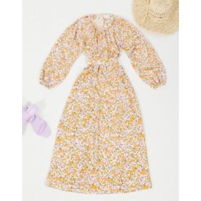 エイソス レディース ワンピース トップス ASOS DESIGN Midi Dress with Cut Out Back and Tie Waist Floral print