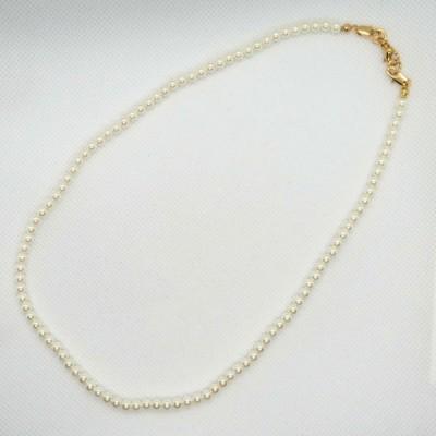 セルフアレンジ4mm玉白ガラスパール1連ネックレス40cm金色金具